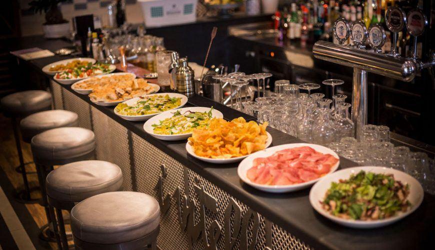 Aperitivo buffet in an Italian bar