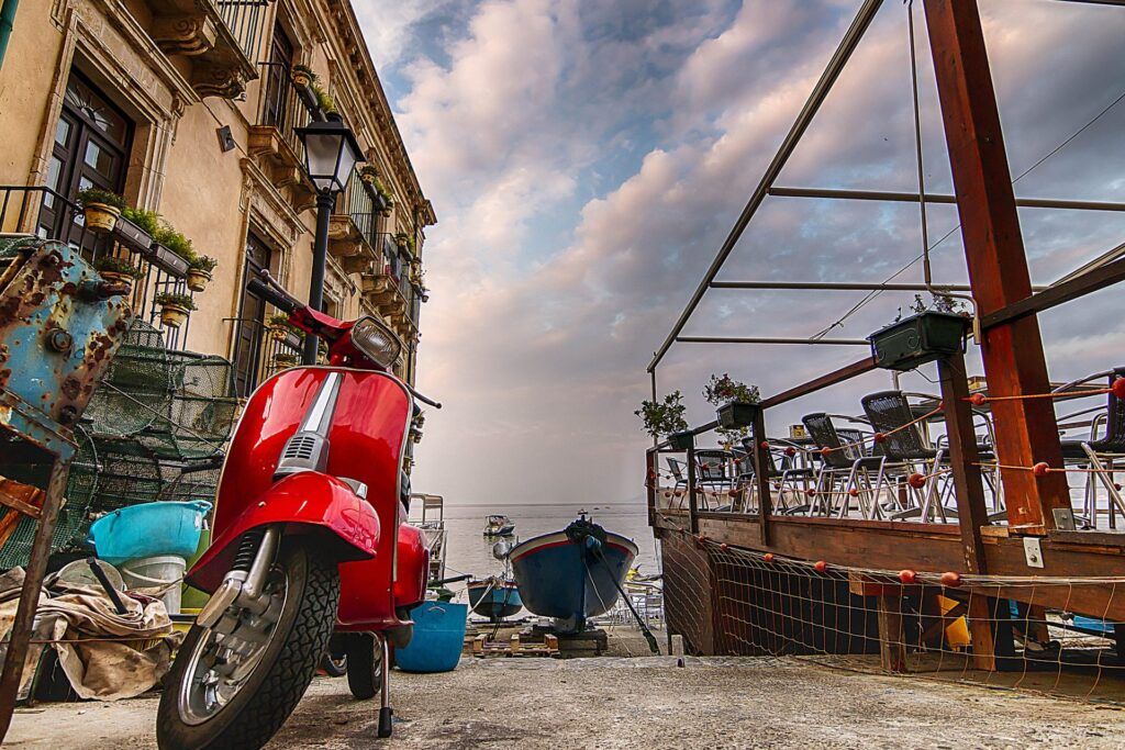 Restaurant and moto at Chianalea