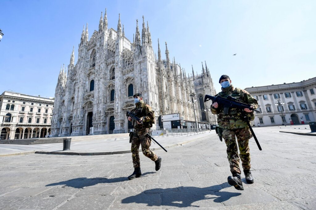 Soldiers guarding the Duomo in Milan during the lockdown